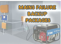 Mains failure backup generators